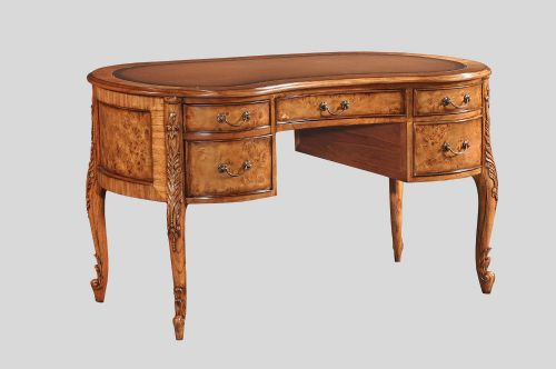 Kidney Writing Desk in Burr Walnut